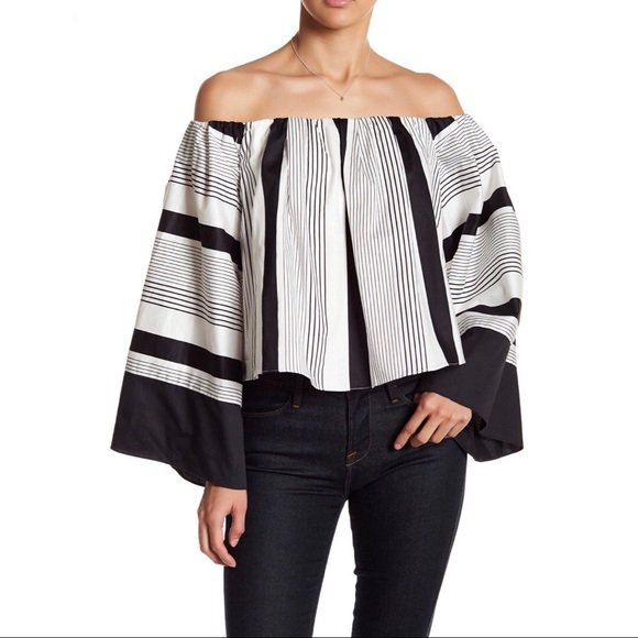 Kendall & Kylie Tops - Kendall & Kylie Off-the-Shoulder Stripe Blouse